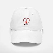 Cardinal in Heart Baseball Baseball Cap