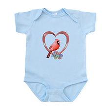 Cardinal in Heart Infant Bodysuit