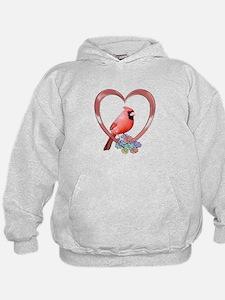 Cardinal in Heart Hoodie