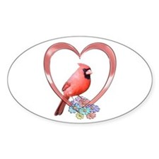 Cardinal in Heart Decal