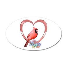 Cardinal in Heart 22x14 Oval Wall Peel