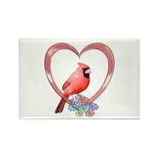 Cardinal in Heart Rectangle Magnet