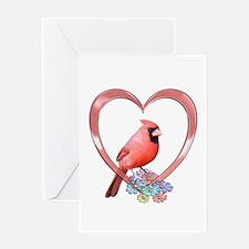 Cardinal in Heart Greeting Card