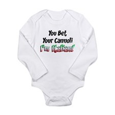Bet Your Cannoli Kids Long Sleeve Infant Bodysuit