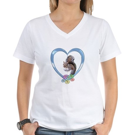 Squirrel in Heart Women's V-Neck T-Shirt