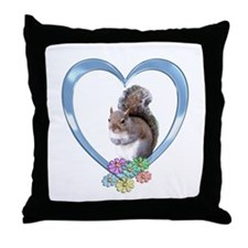 Squirrel in Heart Throw Pillow
