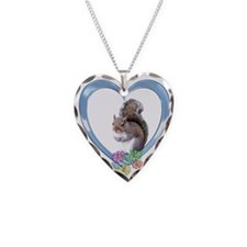 Squirrel in Heart Necklace Heart Charm