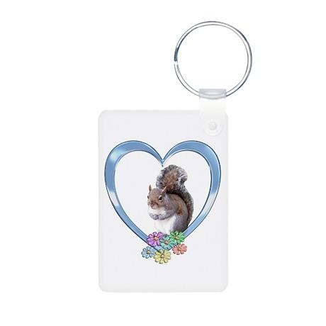 Squirrel in Heart Aluminum Photo Keychain