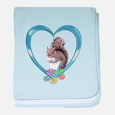 Squirrel in Heart baby blanket