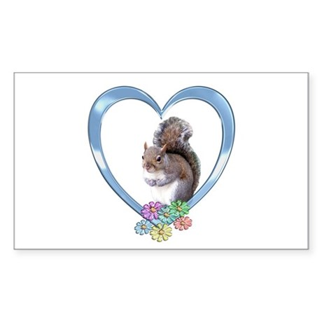 Squirrel in Heart Sticker (Rectangle)