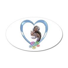 Squirrel in Heart 22x14 Oval Wall Peel