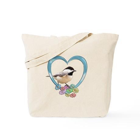 Chickadee in Heart Tote Bag