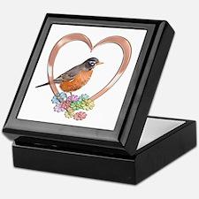Robin in Heart Keepsake Box