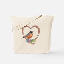 Robin in Heart Tote Bag