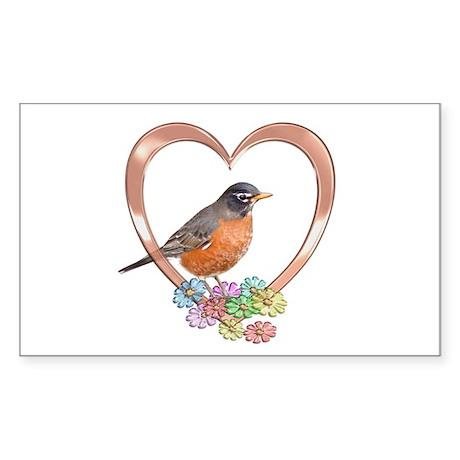 Robin in Heart Sticker (Rectangle)