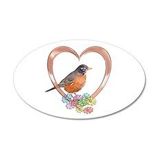 Robin in Heart 22x14 Oval Wall Peel