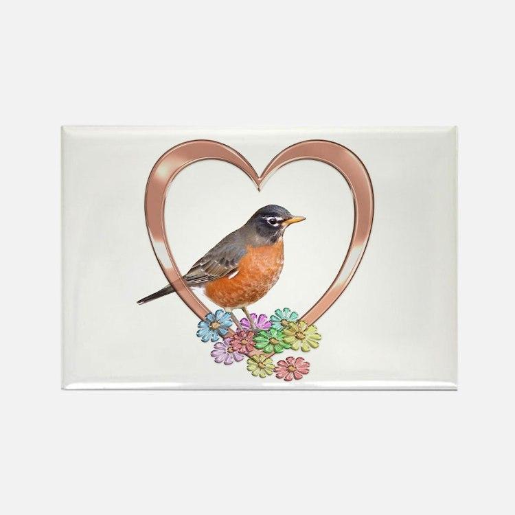 Robin in Heart Rectangle Magnet
