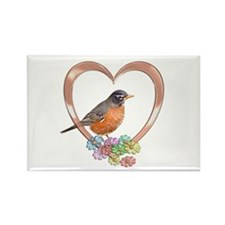 Robin in Heart Rectangle Magnet (100 pack)