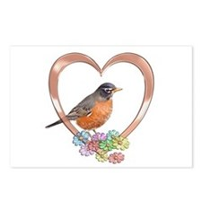 Robin in Heart Postcards (Package of 8)