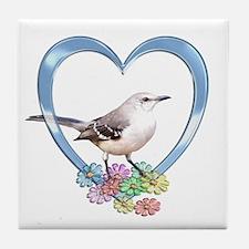 Mockingbird in Heart Tile Coaster