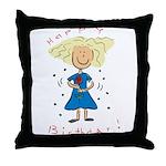 Happy Birthday Girl Throw Pillow