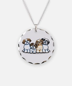 Four Shih Tzus Necklace