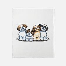 Four Shih Tzus Throw Blanket
