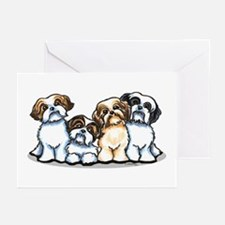 Four Shih Tzus Greeting Cards (Pk of 10)