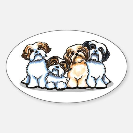 Four Shih Tzus Sticker (Oval)