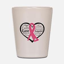 Breast Cancer Heart Shot Glass