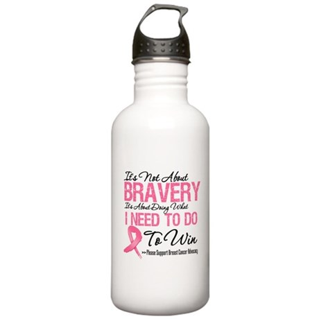 Breast Cancer Bravery Stainless Water Bottle 1.0L