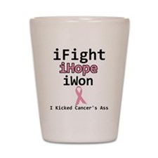 iFight iHope iWon Breast Canc Shot Glass
