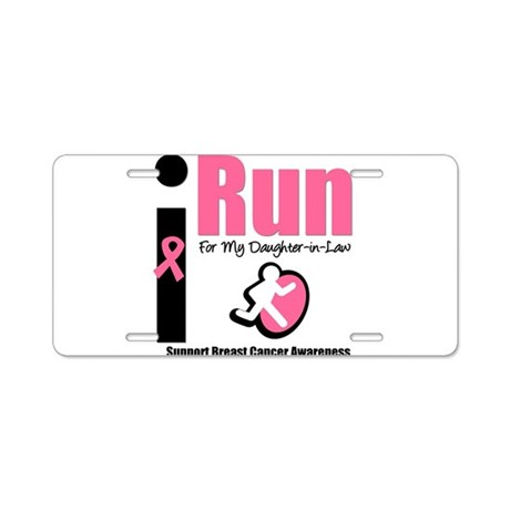 I Run For Breast Cancer Aluminum License Plate