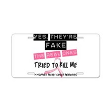 Fake 4 Breast Cancer Aluminum License Plate