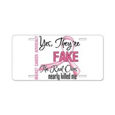 Fake 3 - Breast Cancer Aluminum License Plate