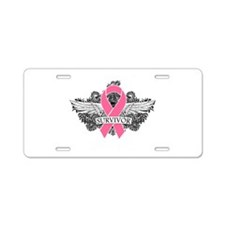 Survivor Wings Breast Cancer Aluminum License Plat