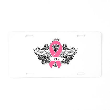 Survivor Wings Breast Cancer Aluminum License Plat