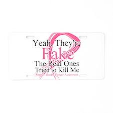 Fake 2 - Breast Cancer Aluminum License Plate