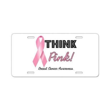 Think Pink Breast Cancer Aluminum License Plate