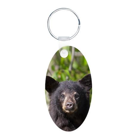 Bear Cub Aluminum Oval Keychain