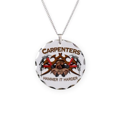 Carpenters Hammer It Necklace Circle Charm