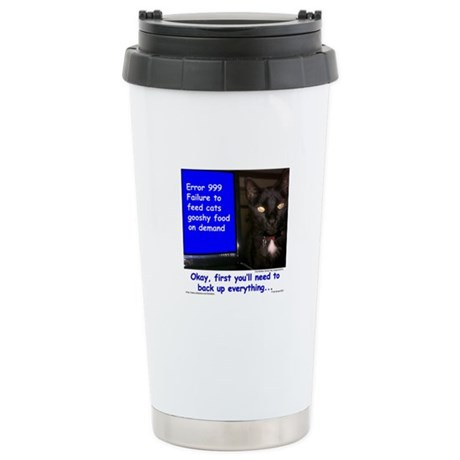 Cat Blue Screen Stainless Steel Travel Mug