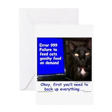 Cat Blue Screen Greeting Card