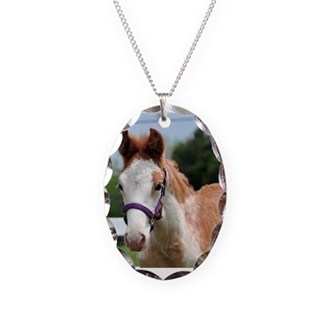 Strawberry Roan Foal Necklace Oval Charm
