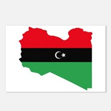 Libyan Republic Flag on Map Postcards (Package of