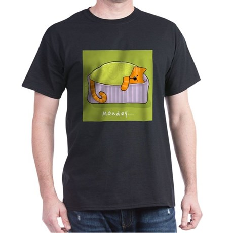 Cats on Monday Black T-Shirt