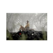 Cowboy in Snow Rectangle Magnet (100 pack)
