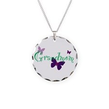 Grandmom Butterflys Necklace Circle Charm