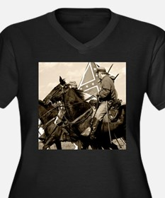 Civil War Cavalry Women's Plus Size V-Neck Dark T-