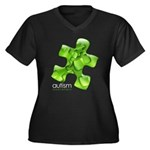 PuzzlesPuzzle (Green) Women's Plus Size V-Neck Dar